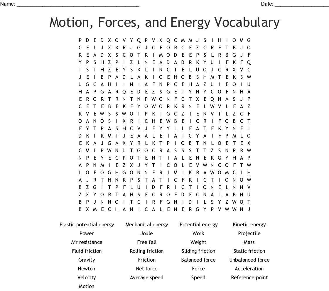 Friction Word Search