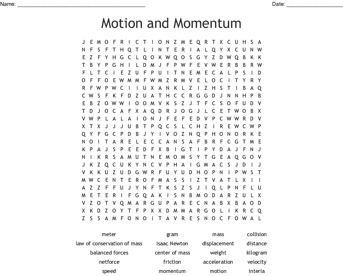 Motion And Momentum Word Search