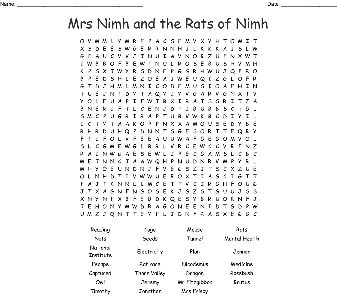 Mrs Frisby And The Rats Of Nimh Crossword