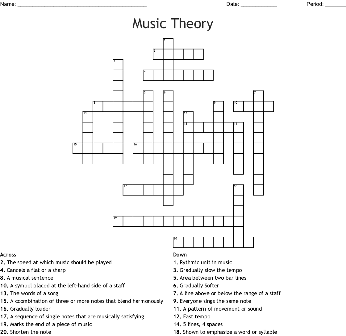Music Theory Crossword
