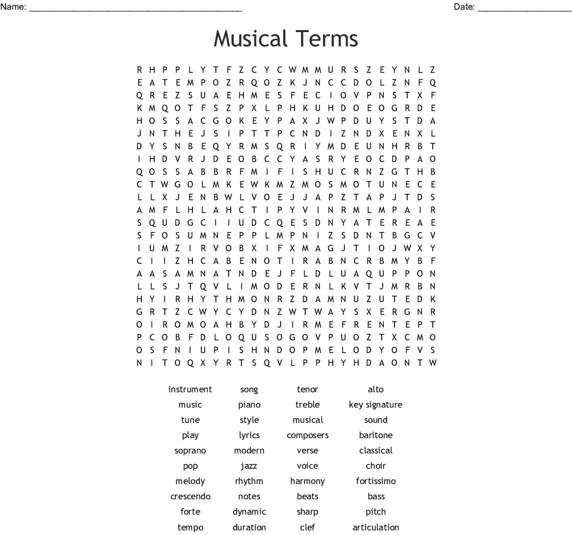 Choir Terms Worksheet