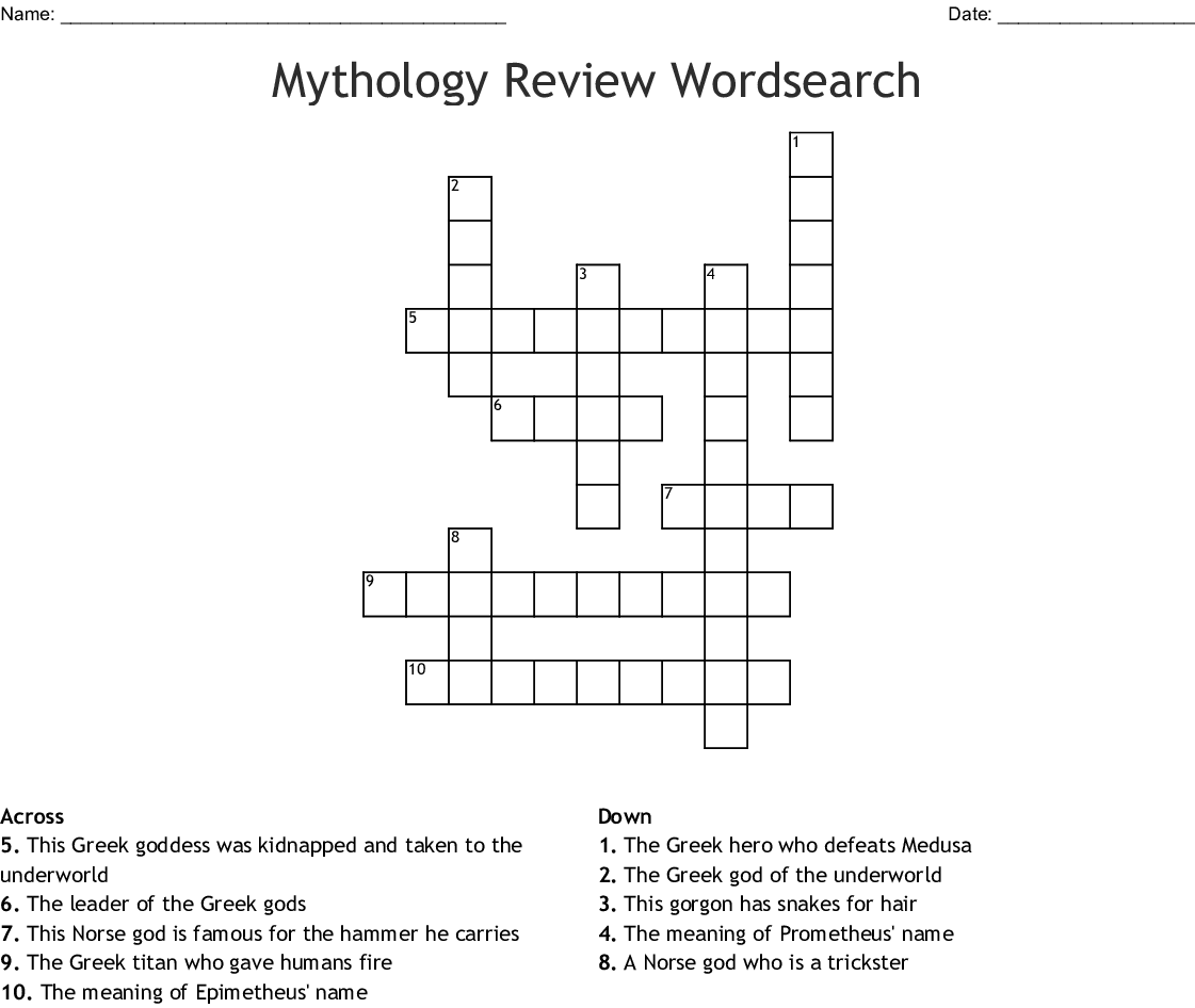 Mythology Review Wordsearch Crossword