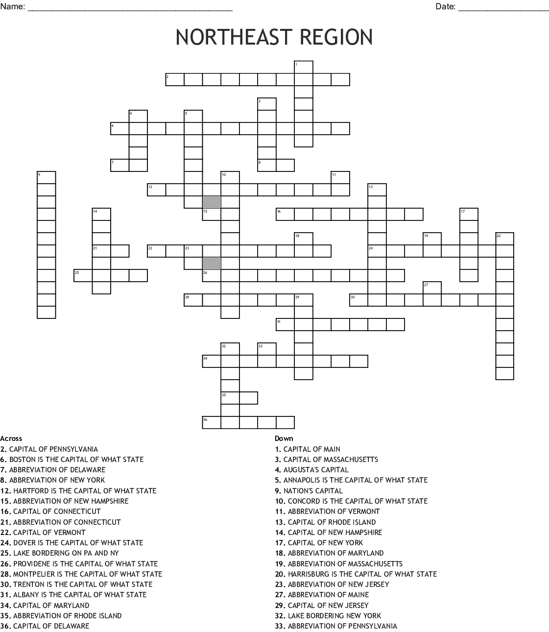 North East States And Capitals Word Search
