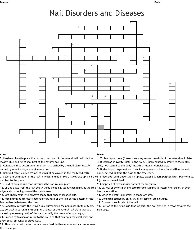 Nail Disorders And Diseases Crossword