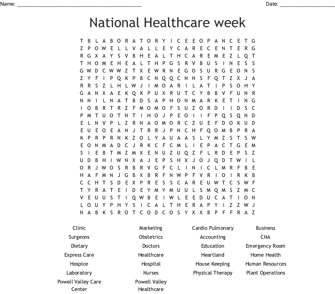 National Healthcare Week Word Search