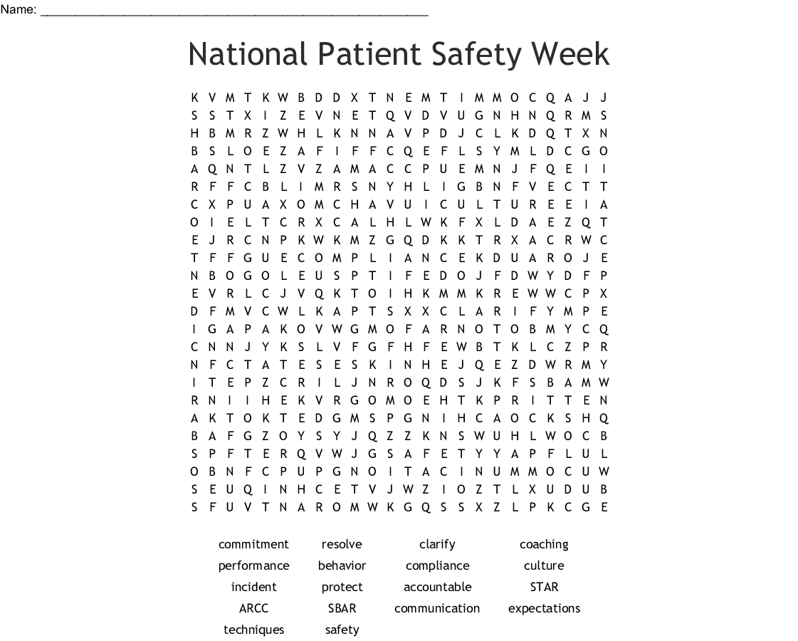 National Patient Safety Week Word Search