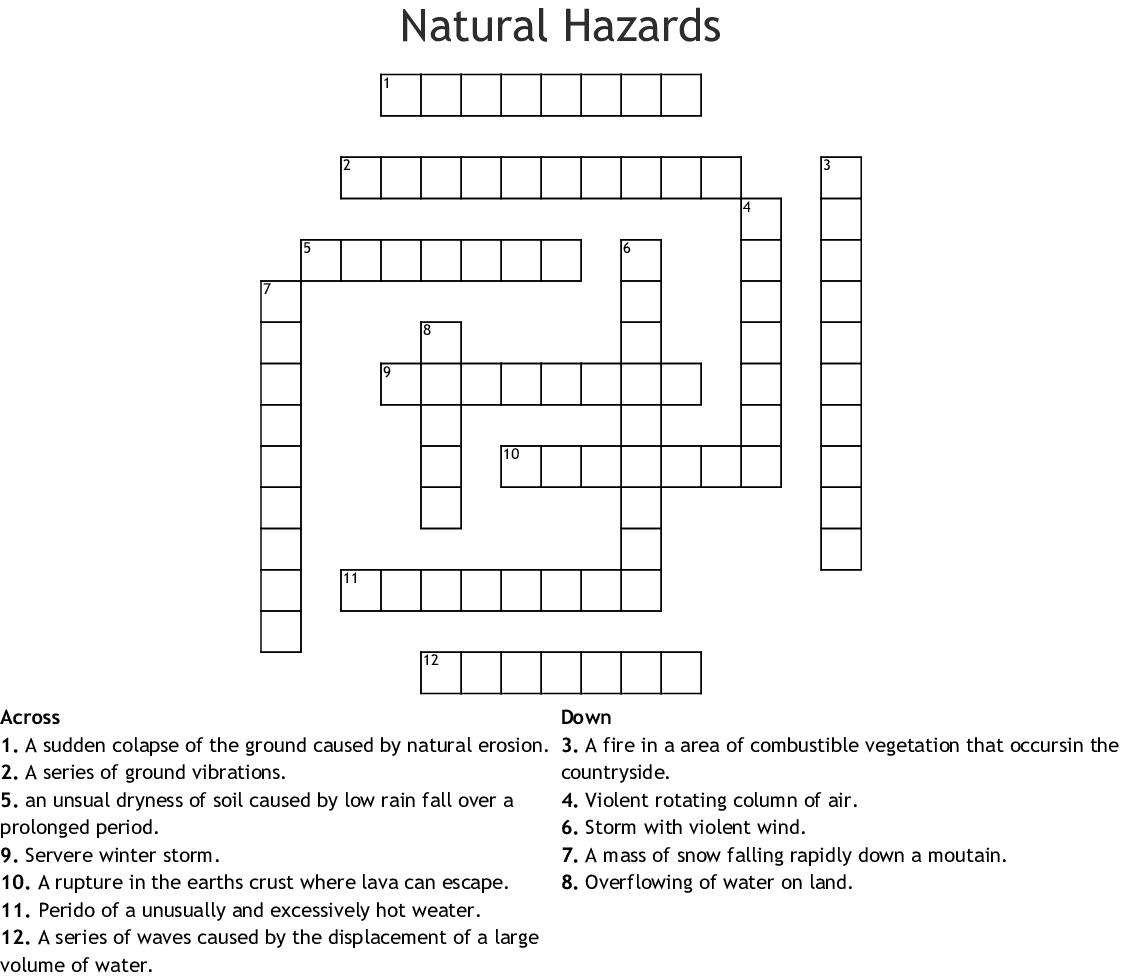 Natural Hazards Crossword