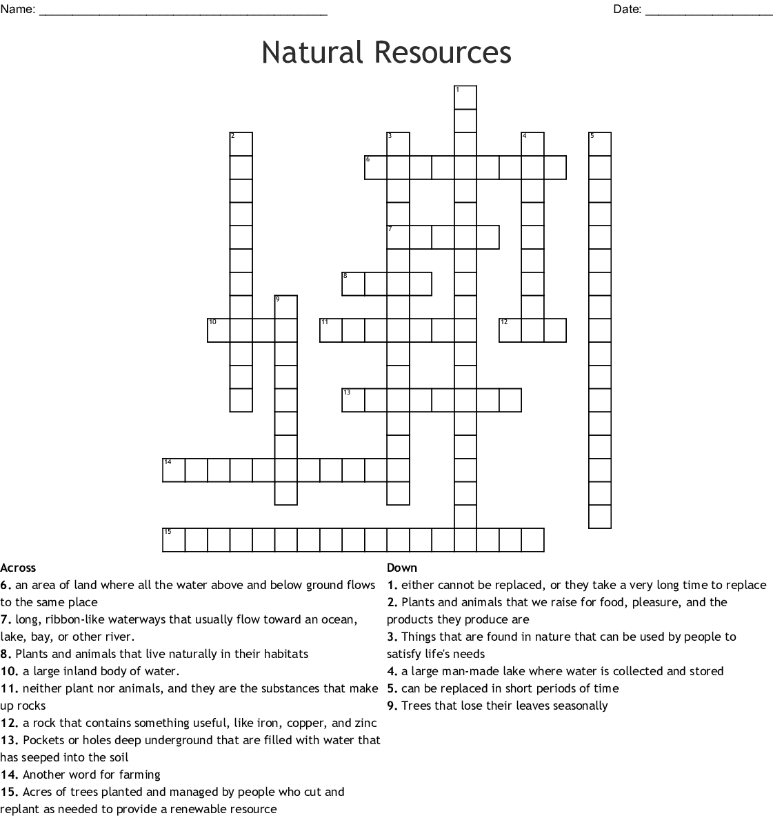 Natural Resources Word Search