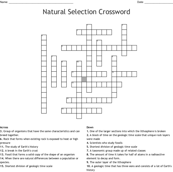 Earth History Crossword - WordMint