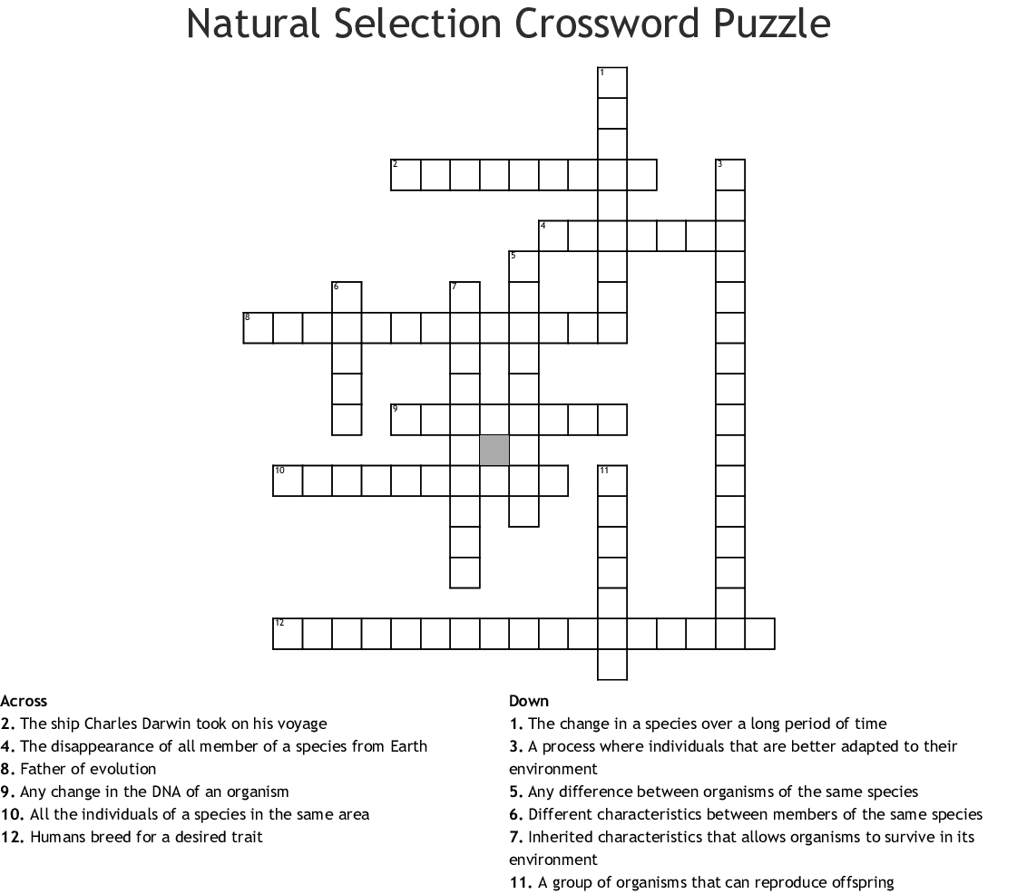 Natural Selection Crossword Puzzle Crossword