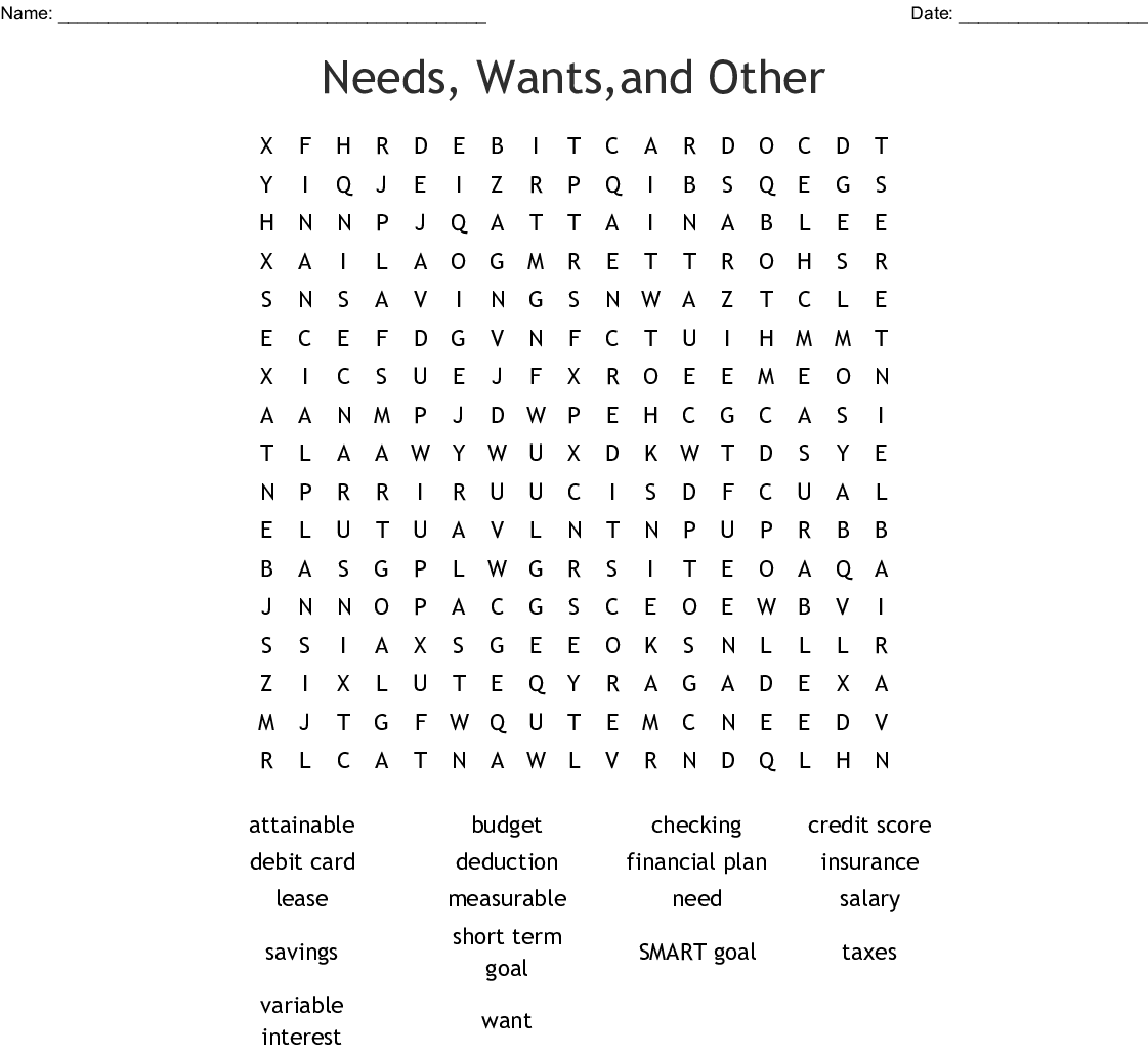 Needs Wants And Other Word Search
