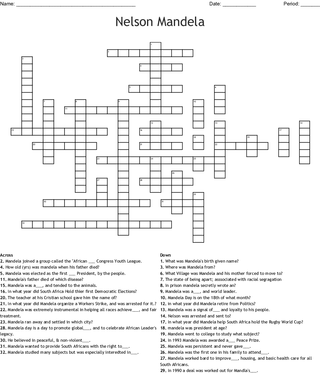 Nelson Mandela Word Search