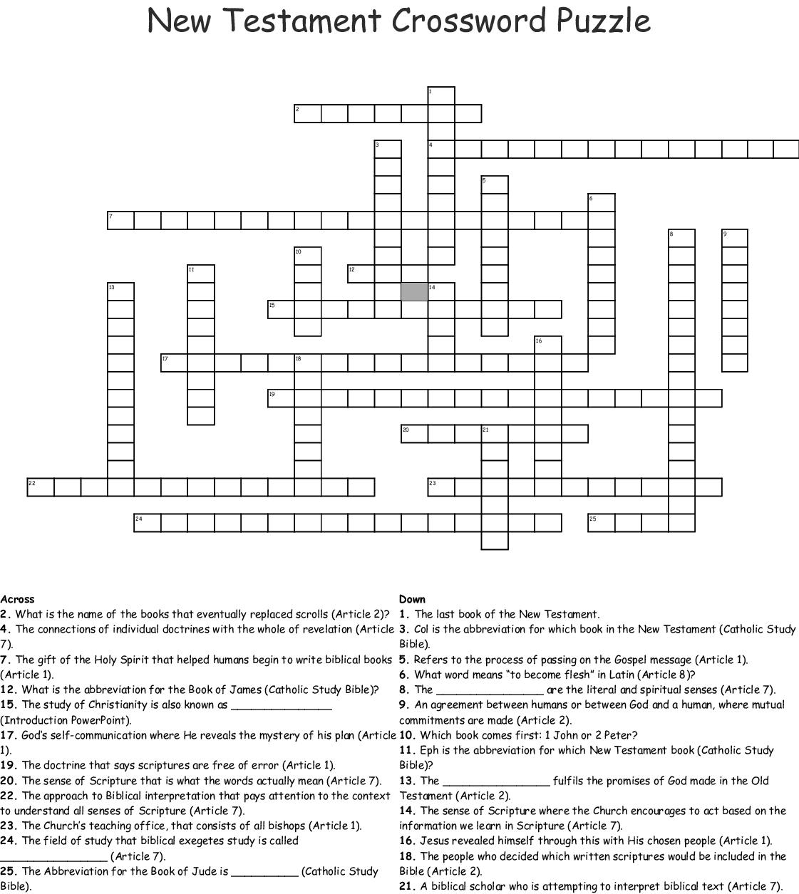 New Testament Crossword Puzzle