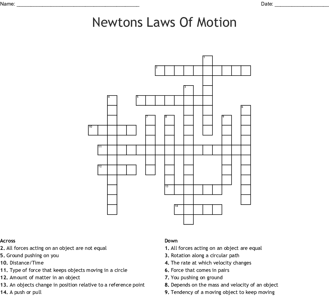 Newtons Laws Of Motion Crossword