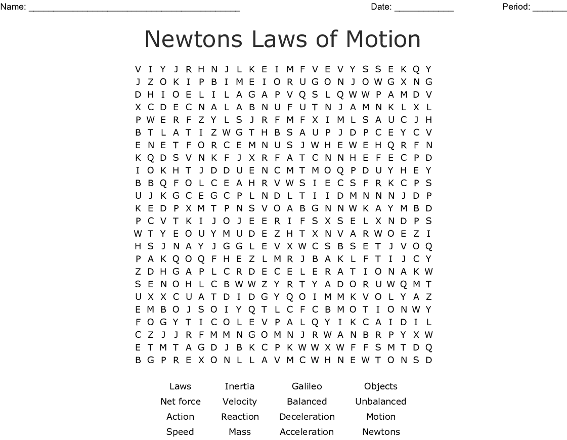 Newtons Laws Of Motion Vocabulary Worksheet Answers