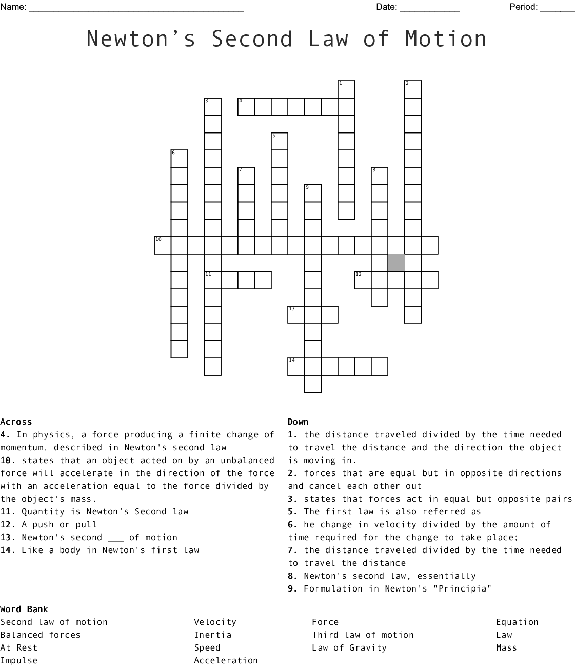 Newton S Second Law Of Motion Crossword