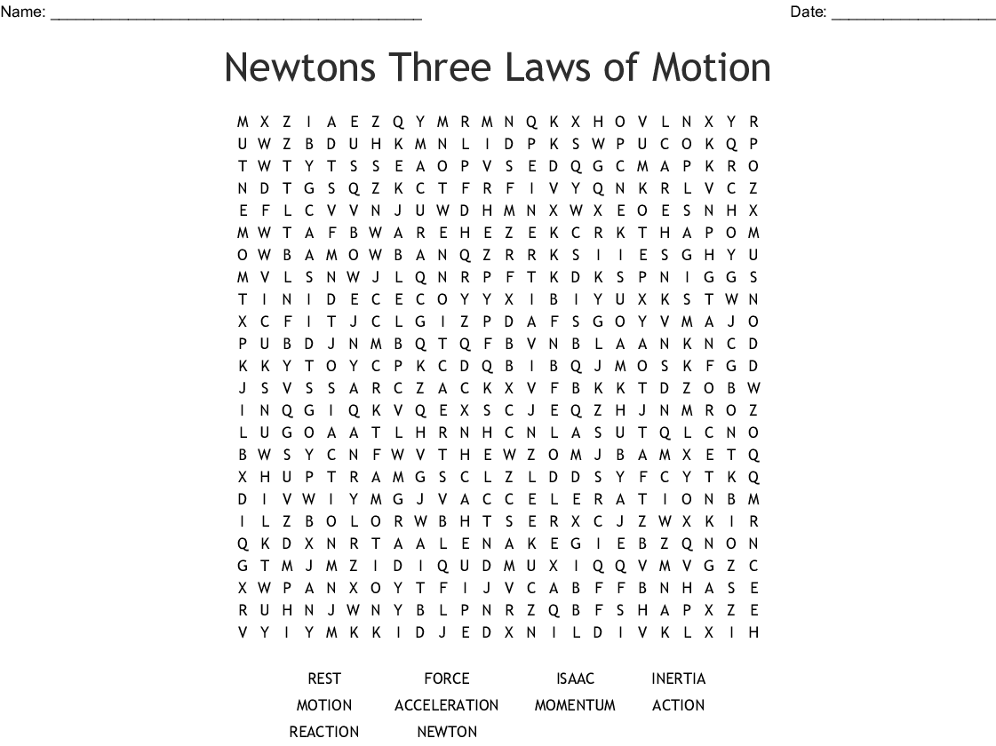 Newtons 3 Laws Crossword