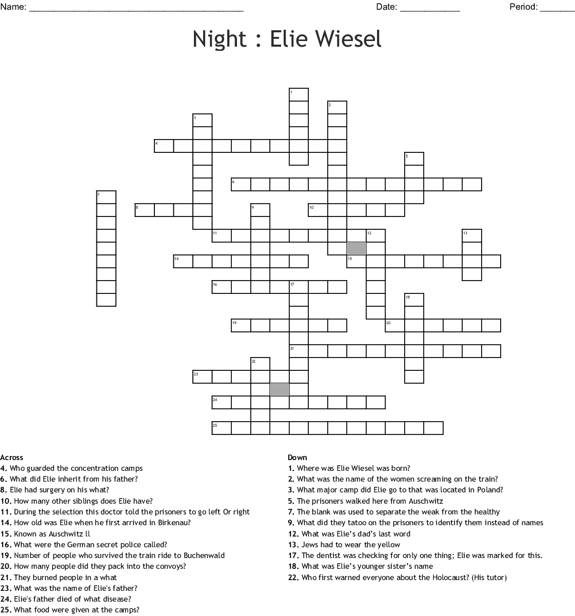 Night Elie Wiesel Crossword