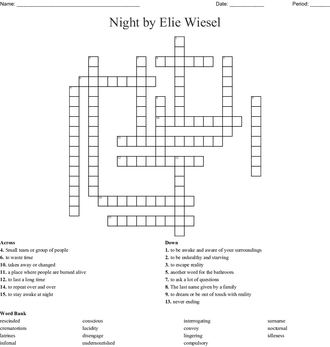Night By Elie Wiesel Crossword
