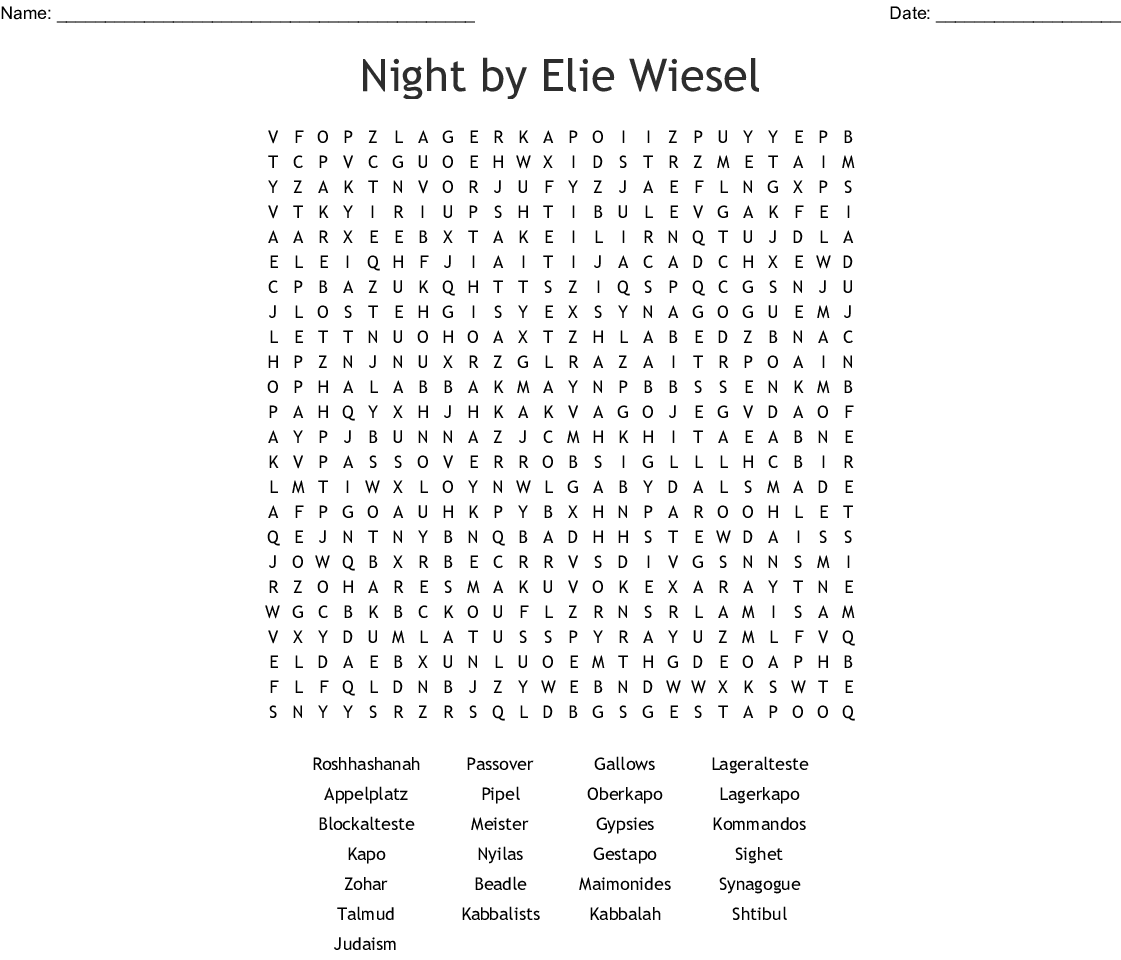 Night By Elie Wiesel Word Search