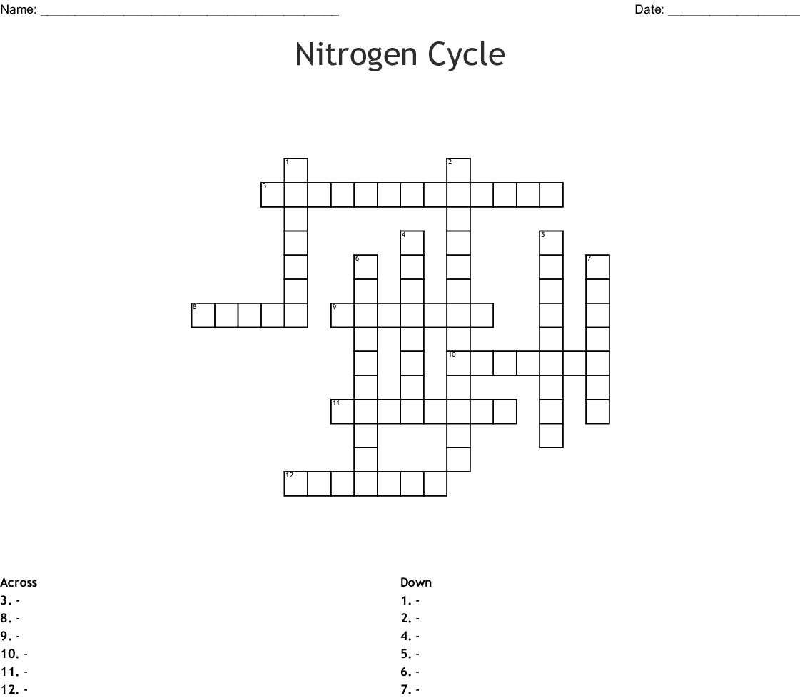 Nitrogen Cycle Word Search