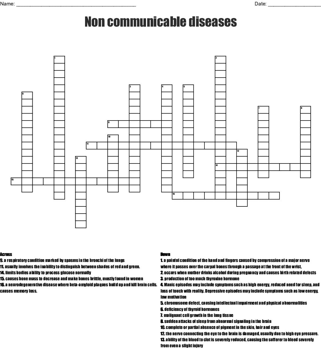 Non Communicable Diseases Crossword