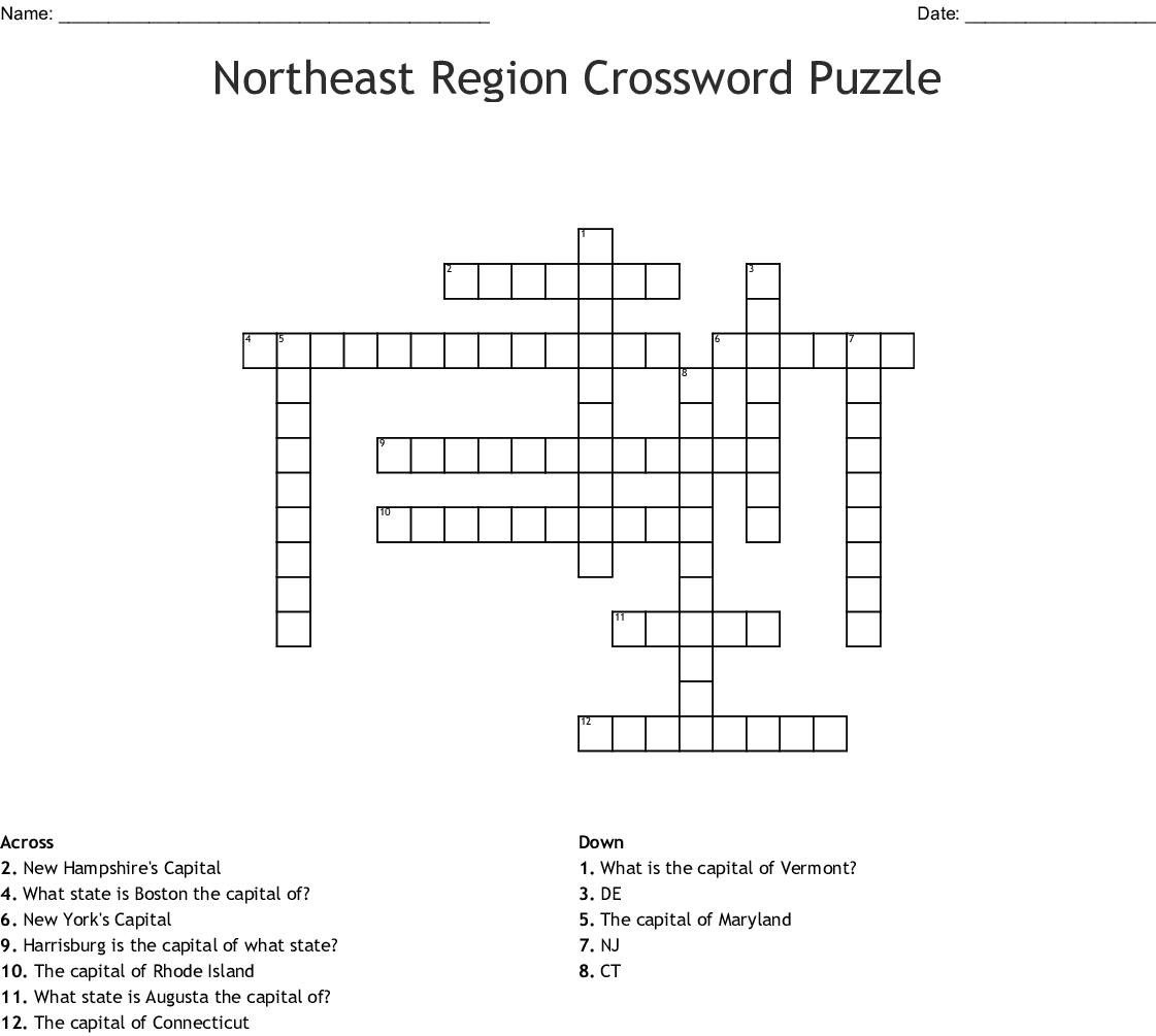 Northeast States And Capitals Crossword