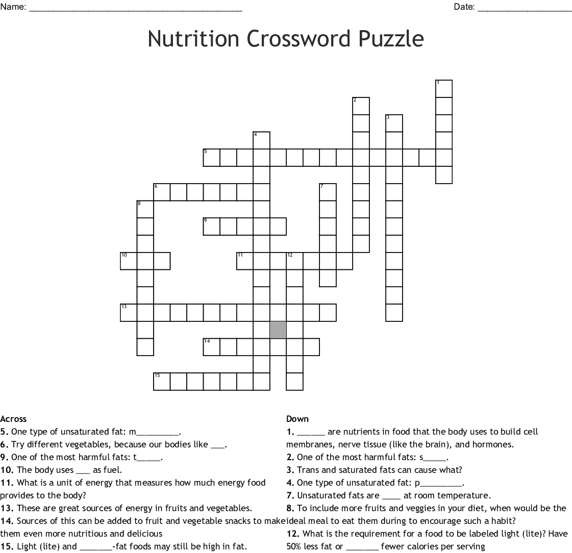 Nutrition Crossword Puzzle