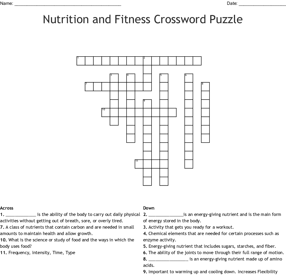 Nutrition And Fitness Crossword Puzzle Crossword