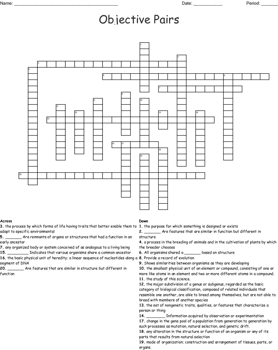 Objective Pairs Crossword