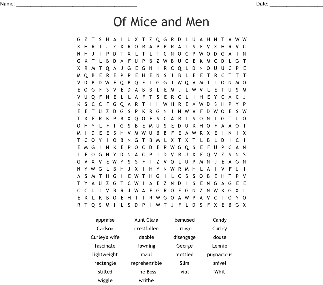 Of Mice And Men Word Search