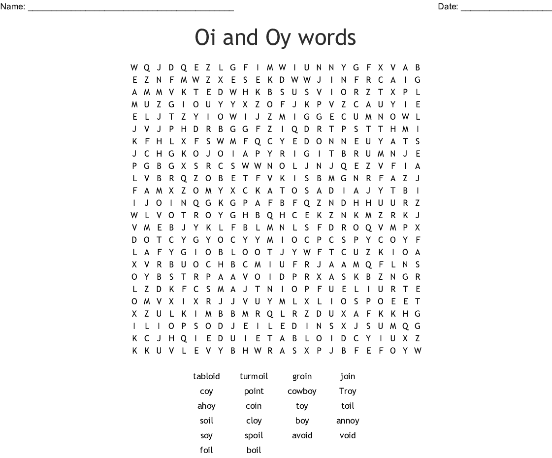 Oi And Oy Words Word Search
