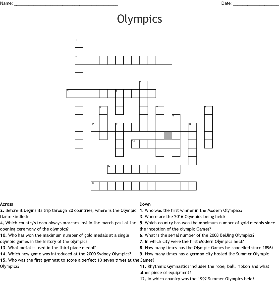 Olympics Crosswords Word Searches Bingo Cards