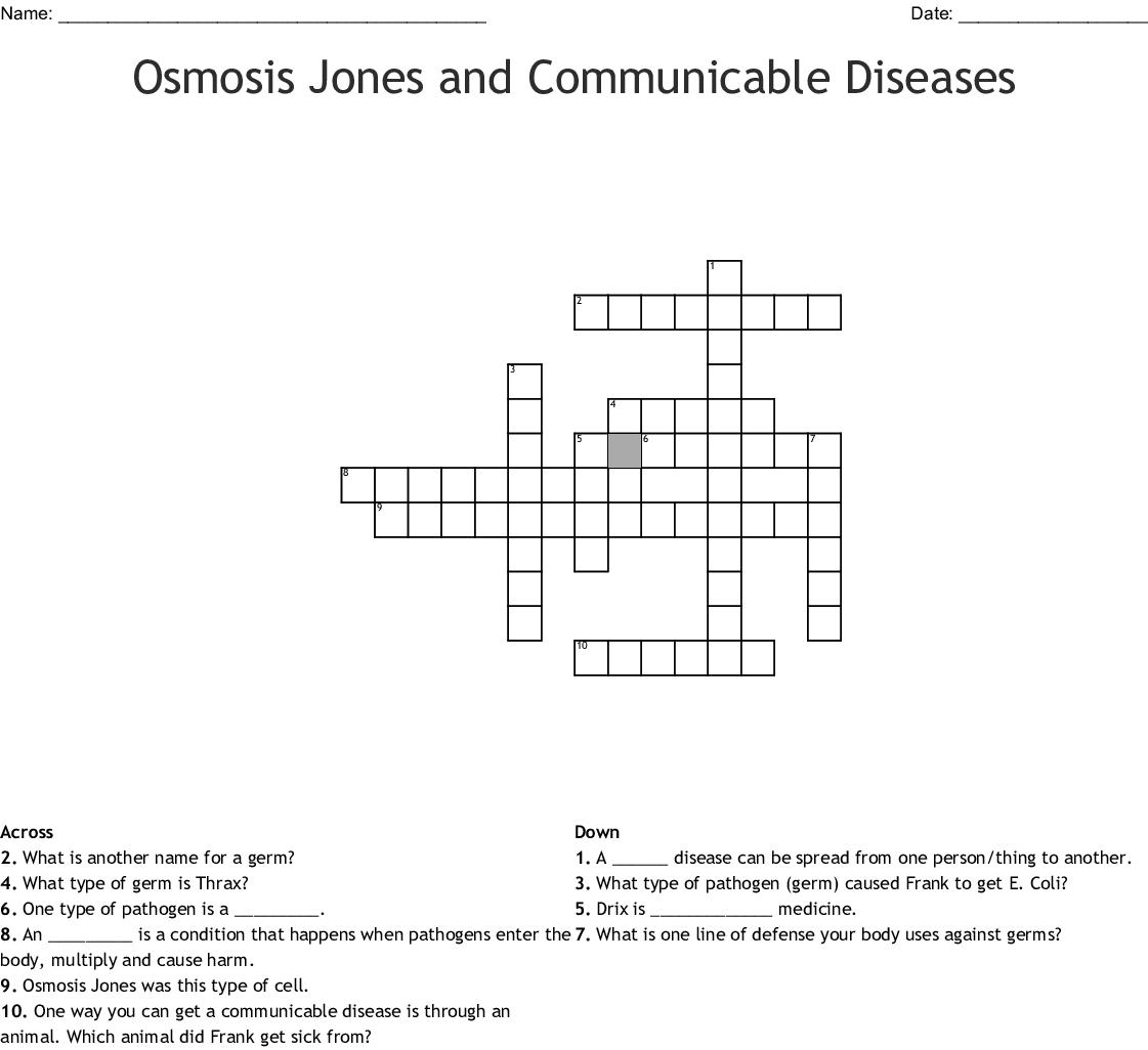 Osmosis Jones Crossword