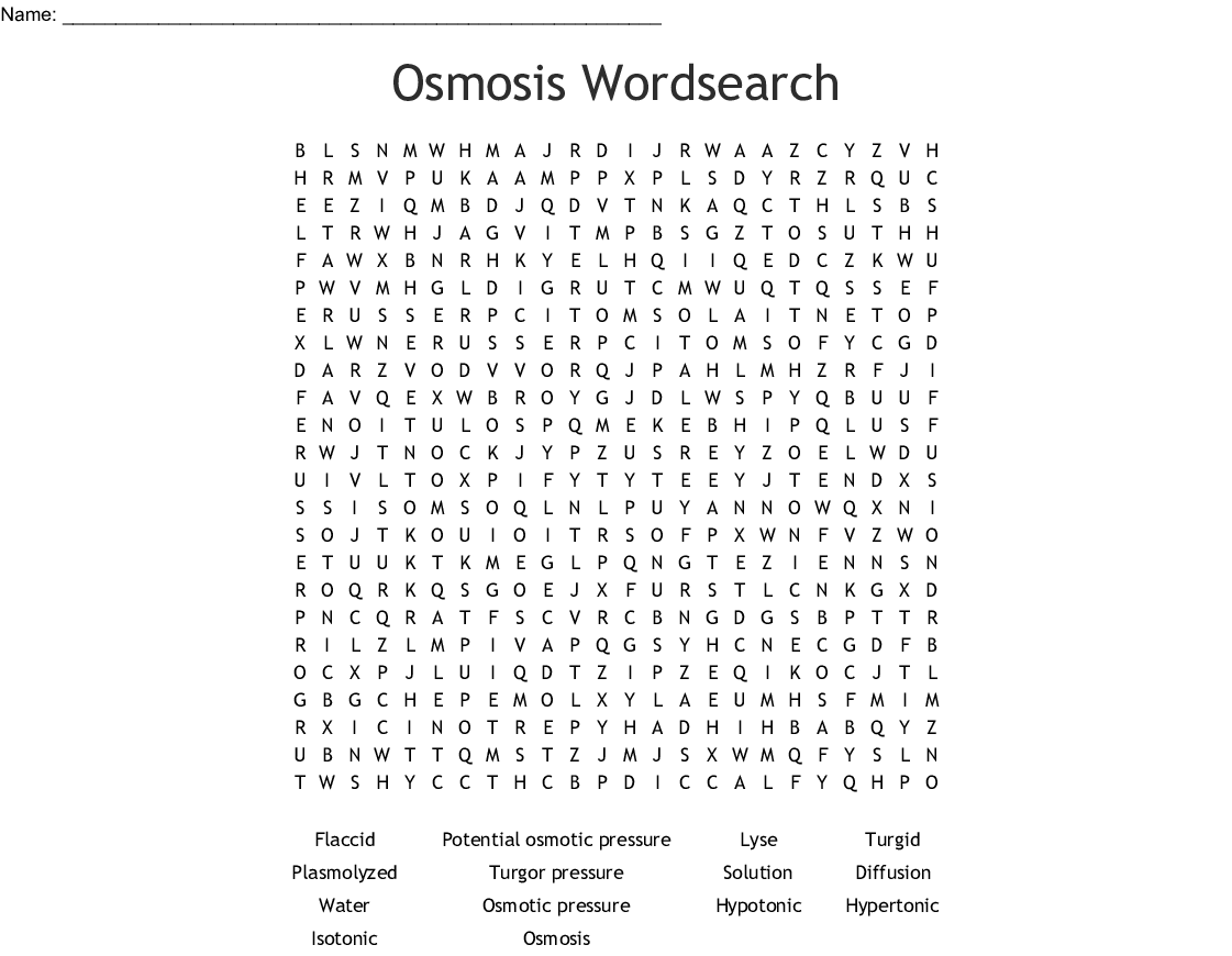 Osmosis Wordsearch
