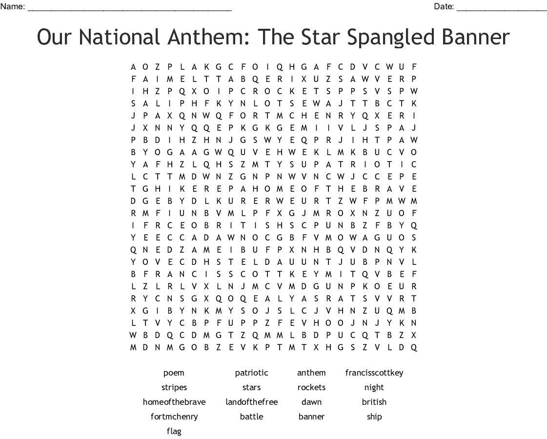 American National Anthem Lyrics Printable