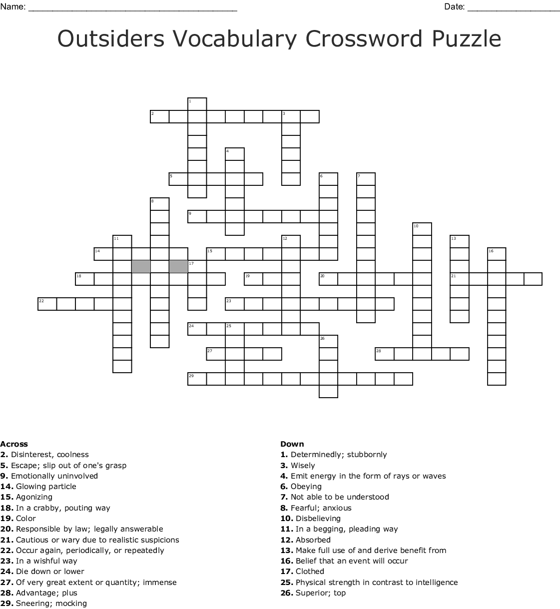 Outsiders Vocabulary Crossword Puzzle