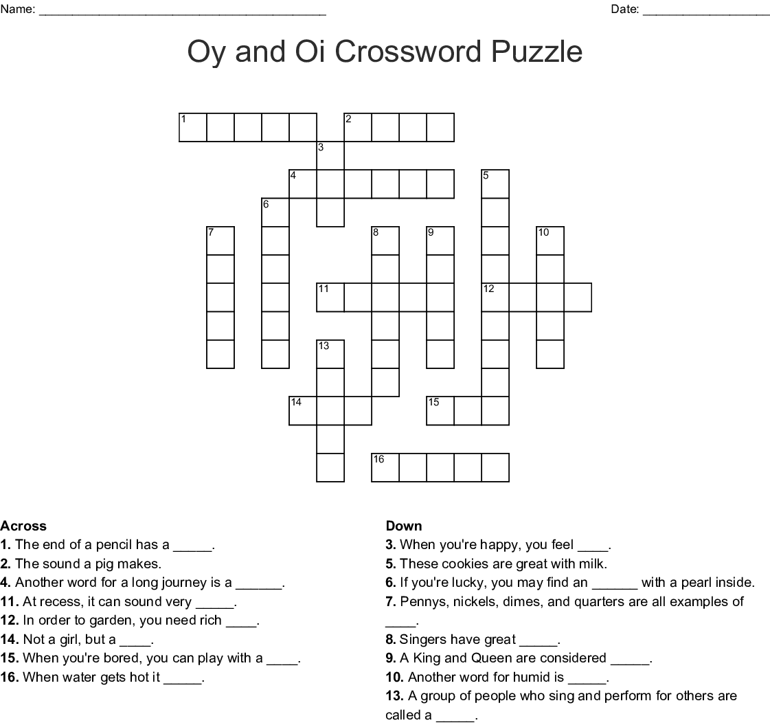 Oy And Oi Crossword Puzzle