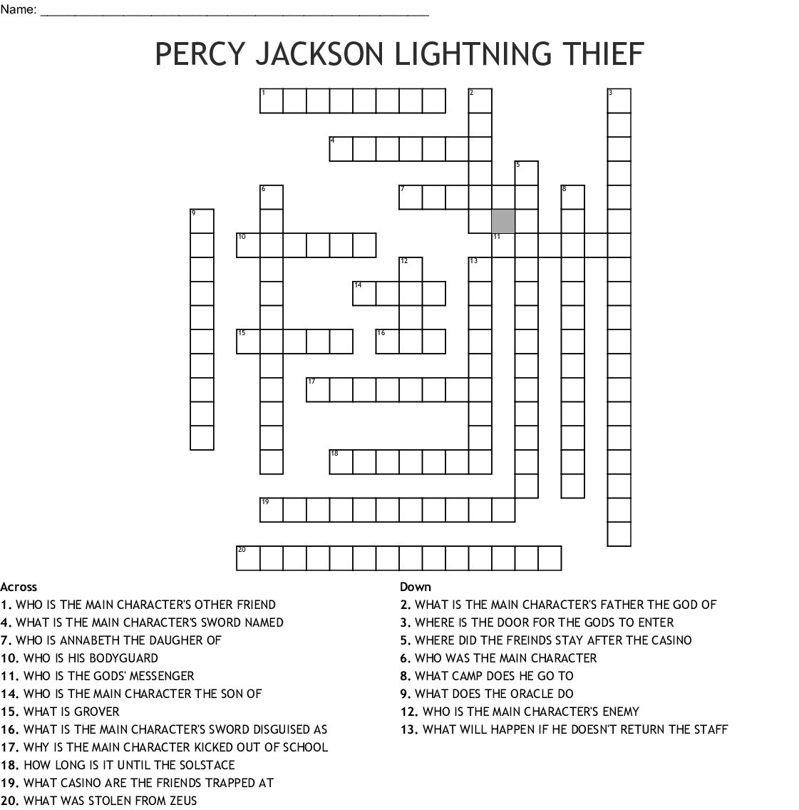 Percy Jackson The Lightning Thief Crossword