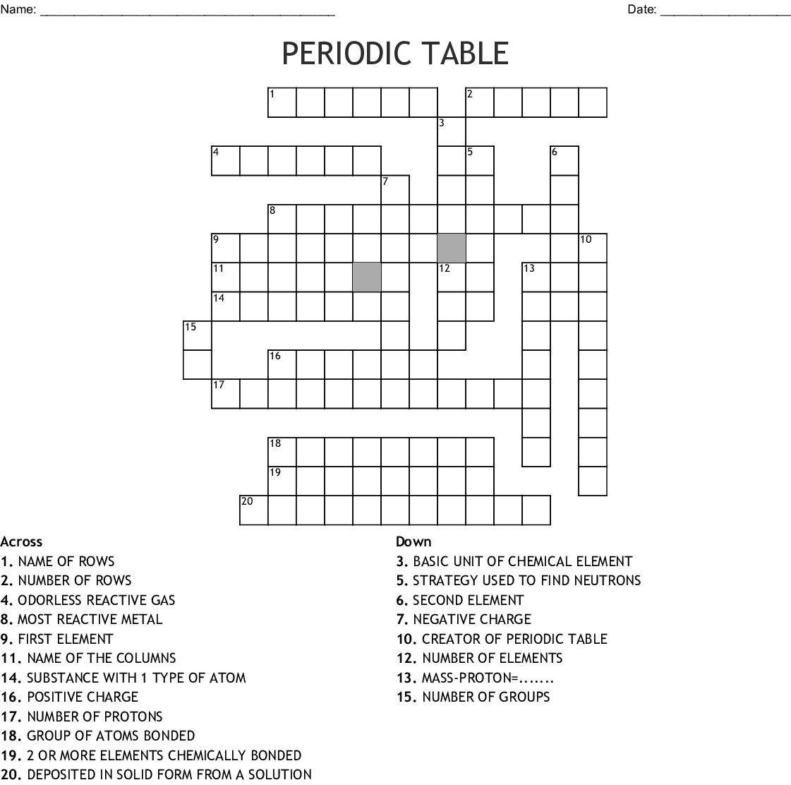 Periodic Table Basics Crossword