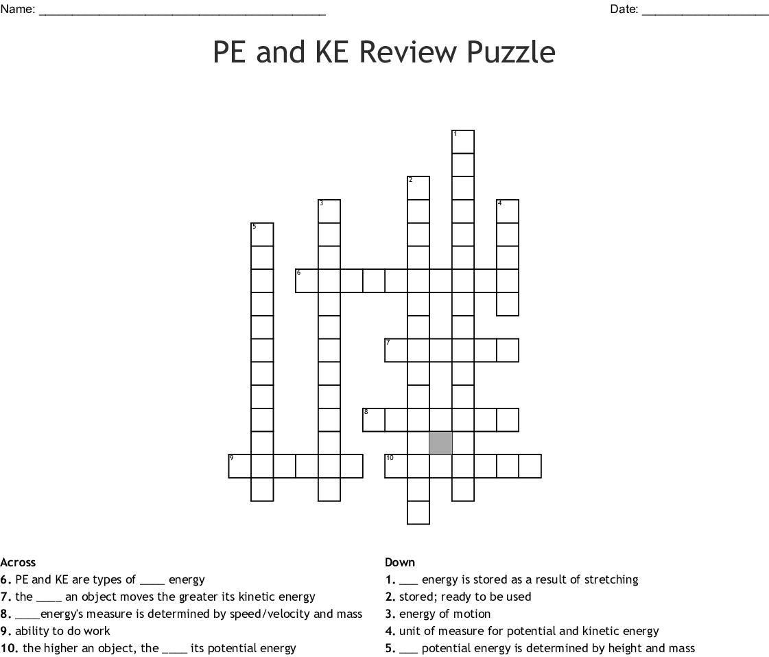 Pe And Ke Review Puzzle Crossword