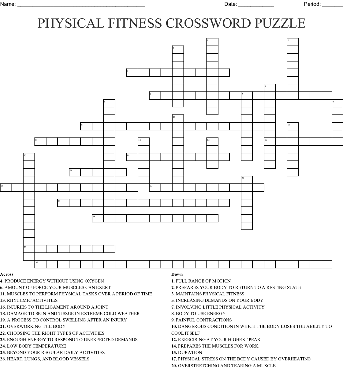 Physical Fitness Crossword Puzzle