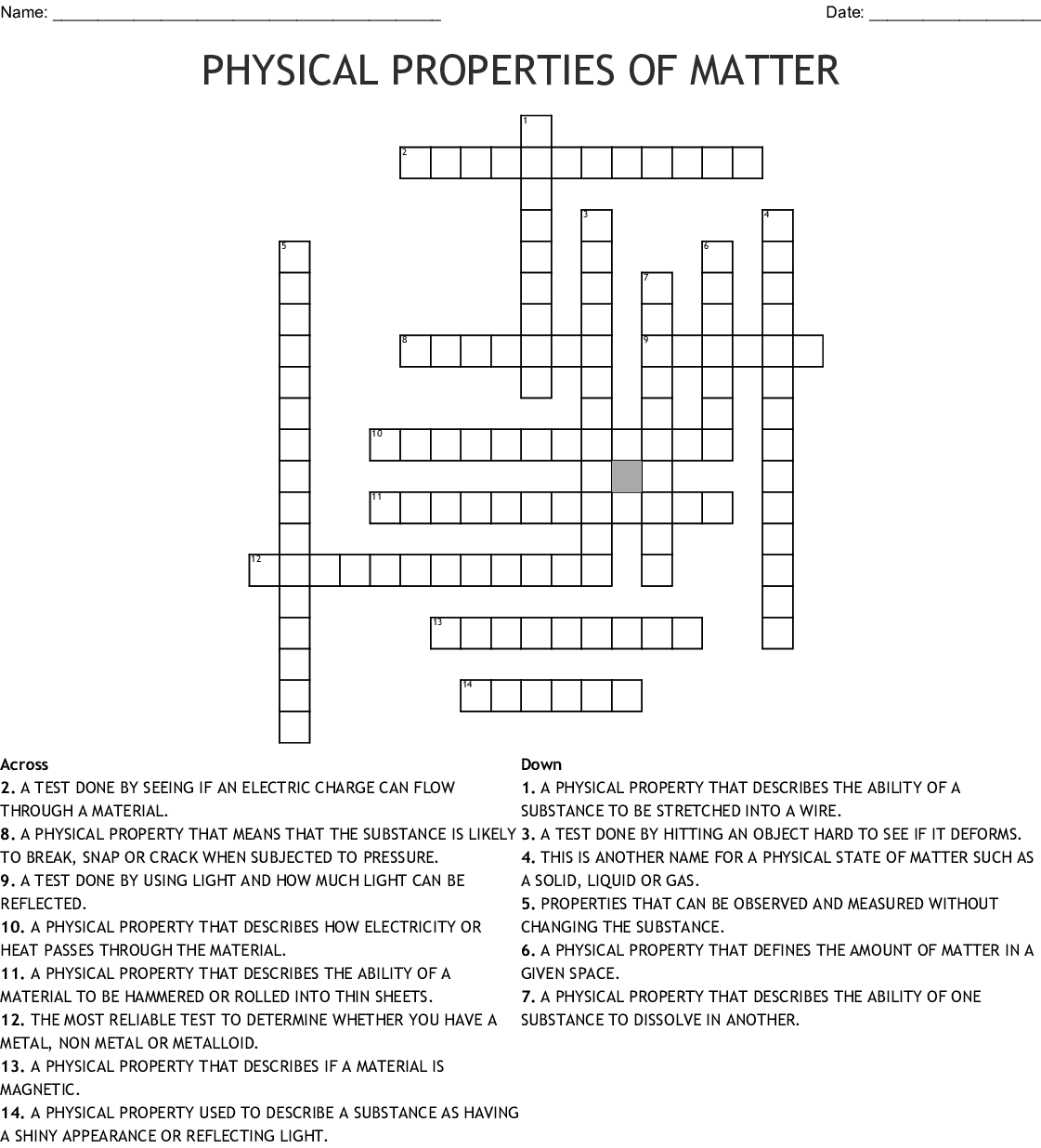 Physical Properties Of Matter Crossword