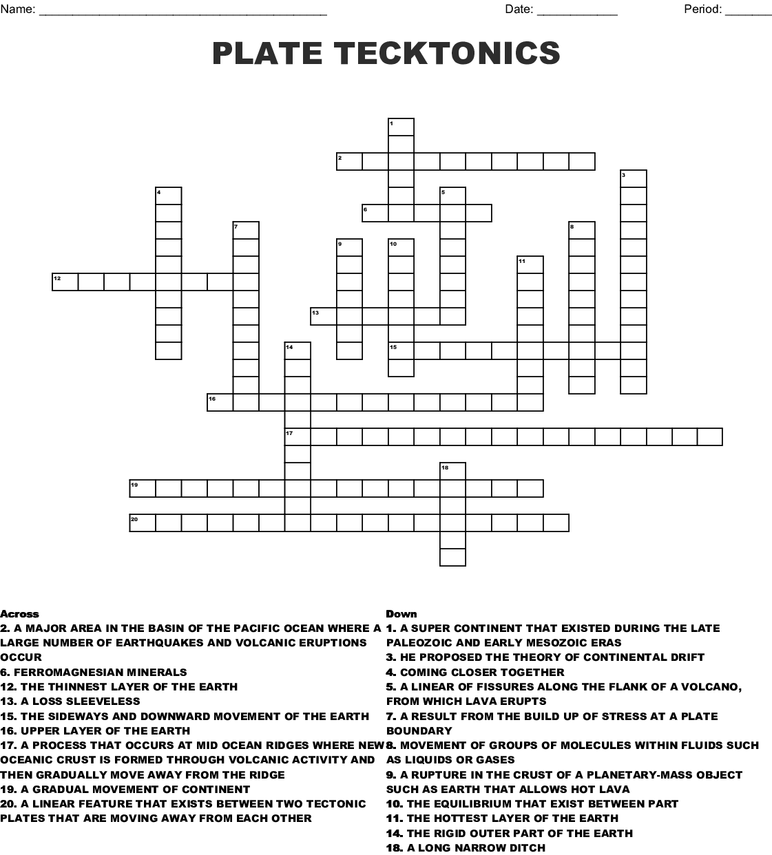 Plate Tecktonics Crossword