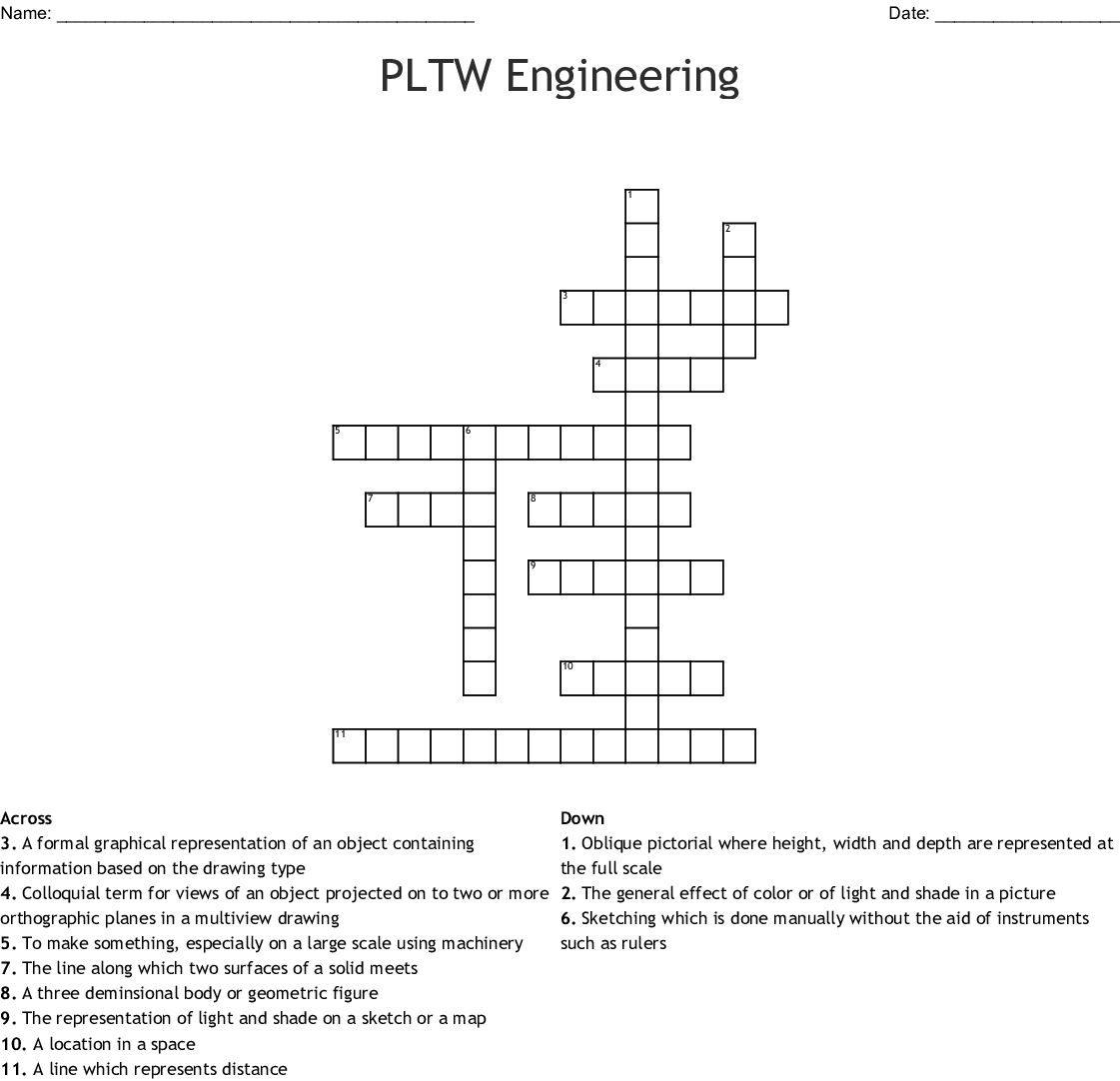 Pltw Engineering Crossword