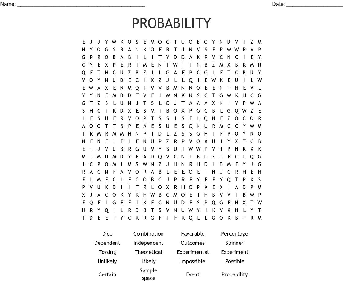 Probability Word Search