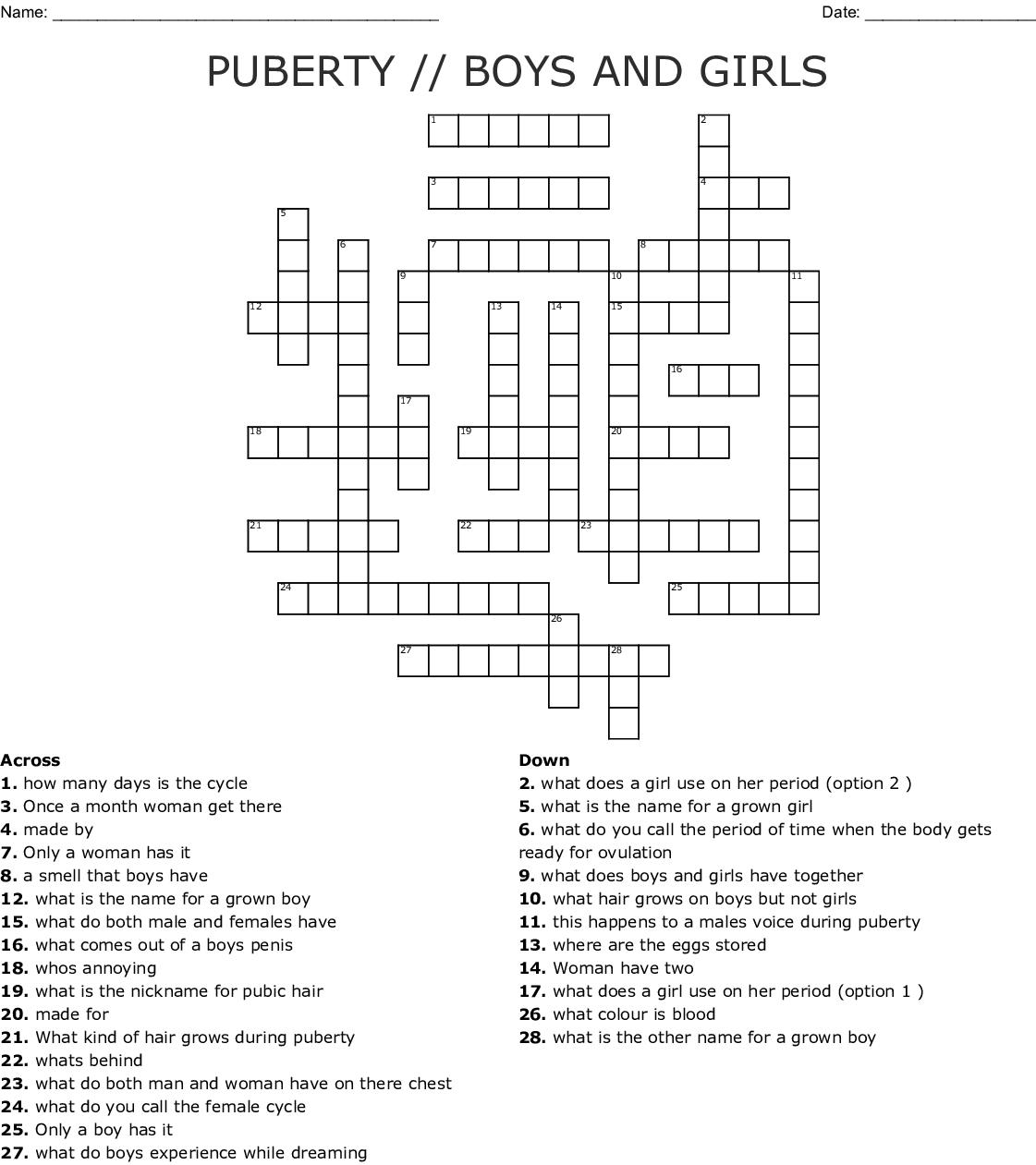 Puberty Crossword