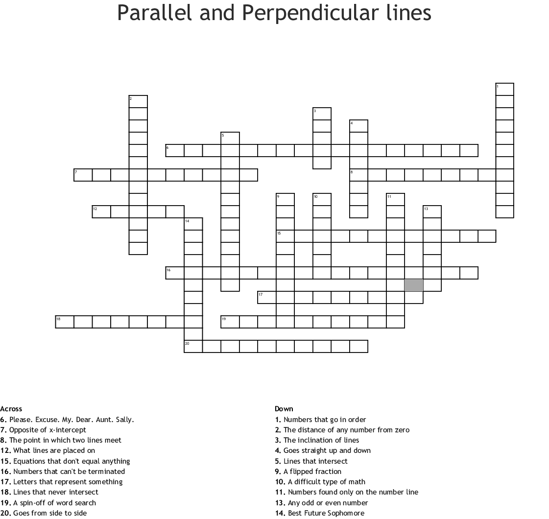 Parallel And Perpendicular Lines Crossword