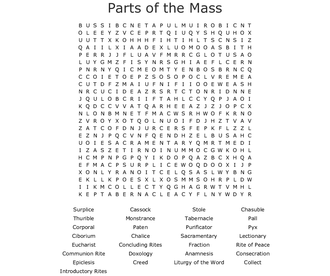 Parts Of The Mass Word Search