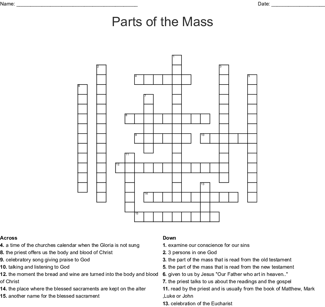 The Sacrament Of The Eucharist Crossword